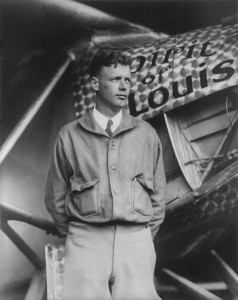 Charles Lindbergh and his plane, the Spirit of St. Louis.