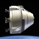 Rendering of Boeing's CST-100 in space.