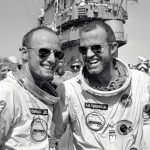 U.S. astronauts Gordon Cooper (right) and Pete Conrad celebrate after returning from the Gemini 5 mission in 1965.